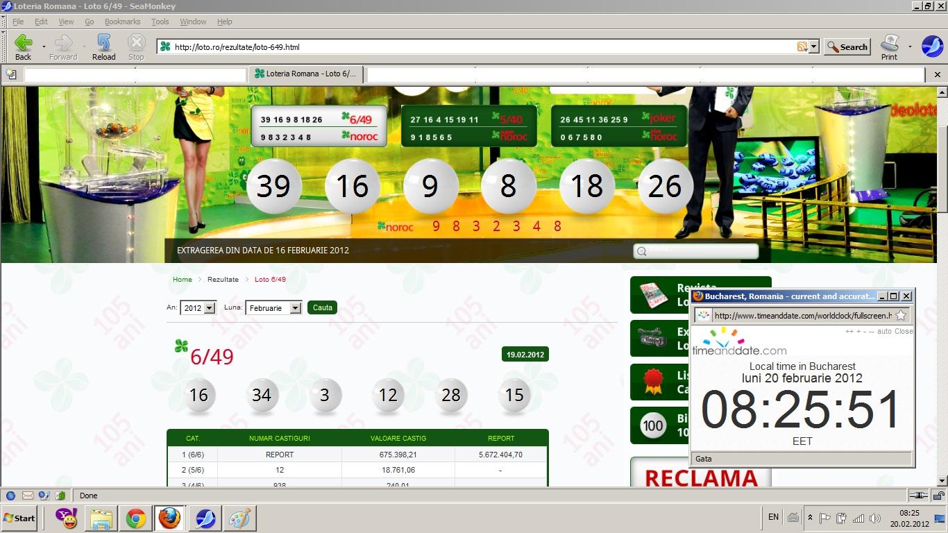 Rezultate loto 6 din 49 pe site-ul Loteriei Naţionale